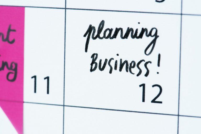Business planning calendar reminder